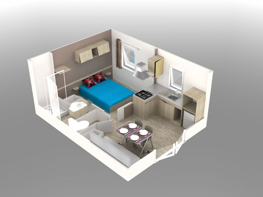Plan 3D du Mobile-Home Evolution
